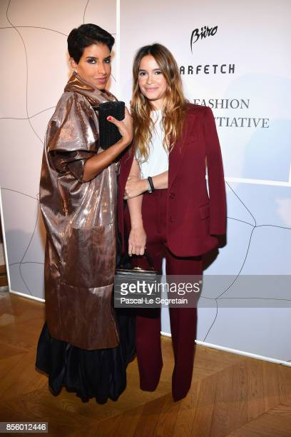 Deena Aljuhani Abdulaziz and Miroslava Duma attend the Buro 24/7 X Farfetch Fashion Forward Initiative as part of the Paris Fashion Week Womenswear...