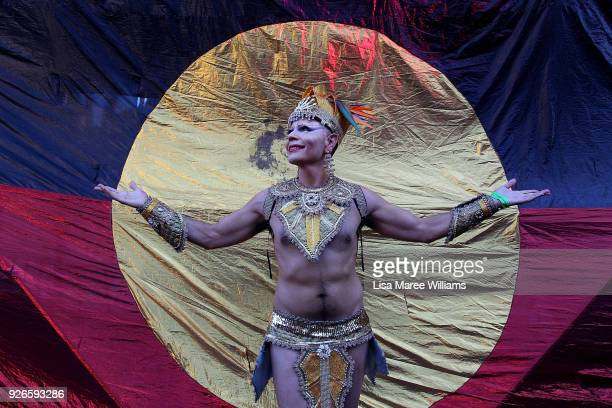 Deena Deadly poses during the 2018 Sydney Gay Lesbian Mardi Gras Parade on March 3 2018 in Sydney Australia The Sydney Mardi Gras parade began in...