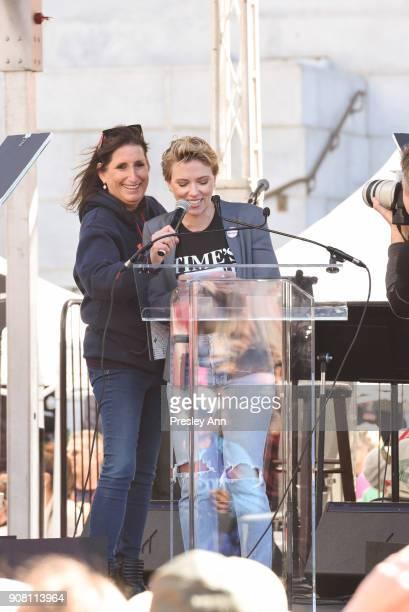 Deena Katz and Scarlett Johansson attend Women's March Los Angeles 2018 on January 20 2018 in Los Angeles California