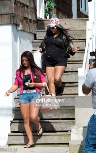Deena Nicole Cortese and Nicole 'Snooki' Polizzi seen on location for 'Jersey Shore' on June 27 2012 in Seaside Heights New Jersey