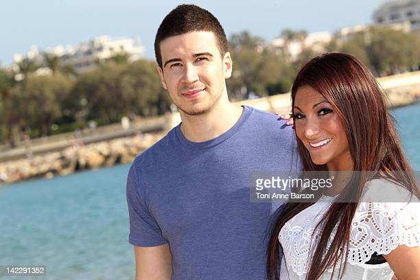 Deena Nicole Cortese and Vinny Guadagnino attend the 'Jersey Shore' photocall on Cannes Beach as part of MIP TV at Hotel Majestic on April 1 2012 in...