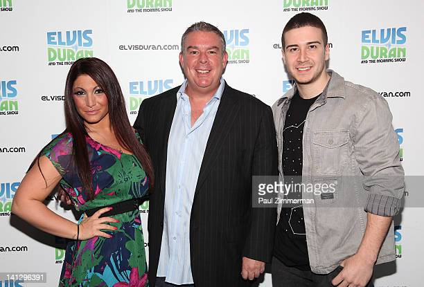 Deena Nicole Cortese Elvis Duran and Vinny Guadagnino visit The Elvis Duran Z100 Morning Show at Z100 Studio on March 14 2012 in New York City