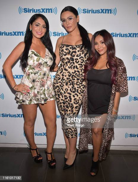 "Deena Nicole Cortese, Jenni ""JWoww"" Farley and Nicole ""Snooki"" Polizzi visit SiriusXM Studios on July 09, 2019 in New York City."