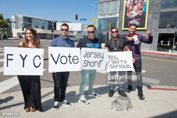 Deena Nicole Cortese Vinny Guadagnino Mike The Situation Ronnie OrtizMagro and Pauly D attend MTV's Jersey Shore Cast Photo Op on June 15 2018 in...