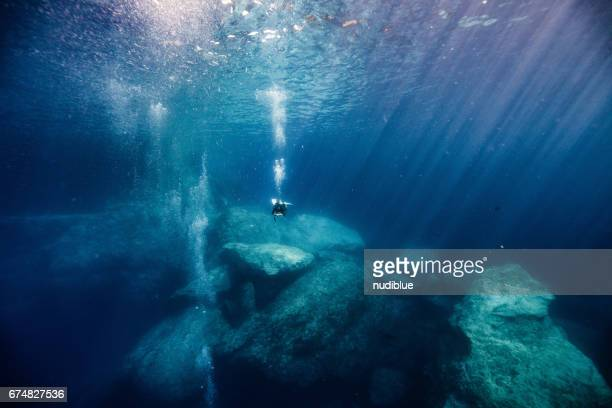 deep blue the mediterranean - undersea stock pictures, royalty-free photos & images