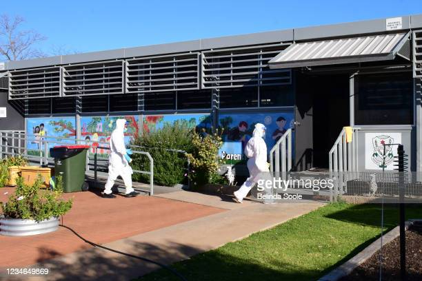 Deep cleaning takes place at Dubbo West Public School,one of the first covid locations, as positive cases grow on August 13, 2021 in Dubbo Australia....