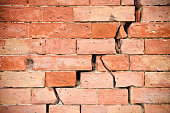 Deep crack in old brick wall - concept image