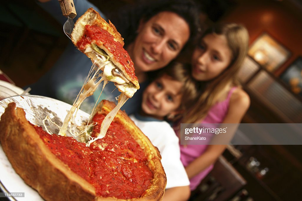 Deep Dish Family Style Chicago Pizza : Stock Photo