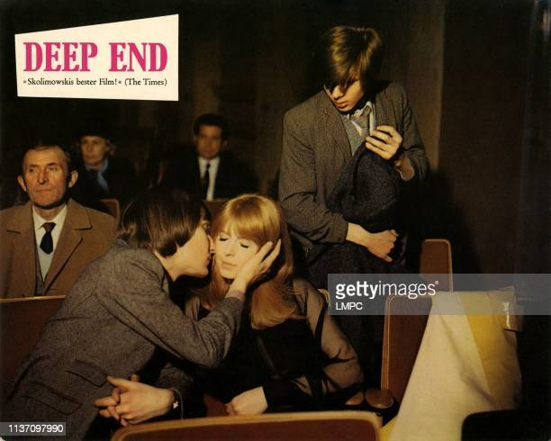 Deep End lobbycard foreground from left Christopher Sandford Jane Asher standing right John MoulderBrown 1971