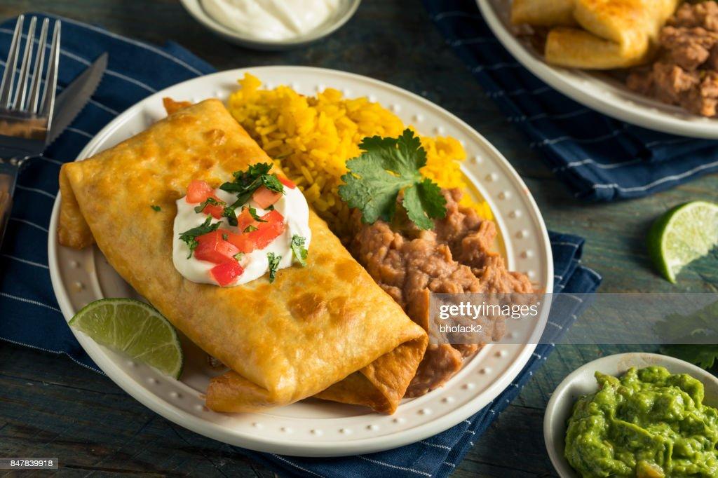 Deep Fried Beef Chimichanga Burrito : Stock Photo