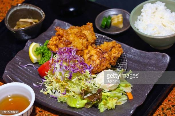 deep fried chicken lunch meal - 茨城県 ストックフォトと画像