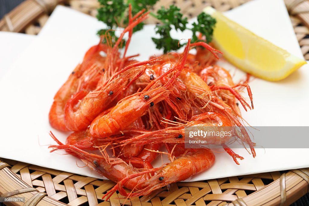 deep fried freshwater shrimp, japanese food : Stock Photo