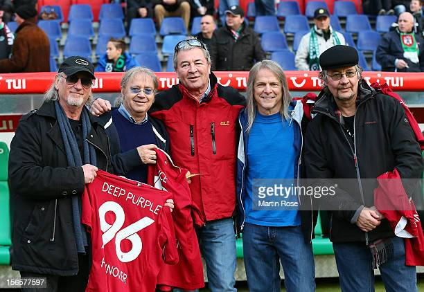 Deep Purple pose for a photo before the Bundesliga match between Hannover 96 and SC Freiburg at AWD Arena on November 17, 2012 in Hannover, Germany.