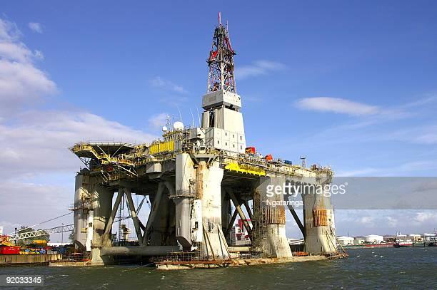 Deep sea drill rig in shipyard