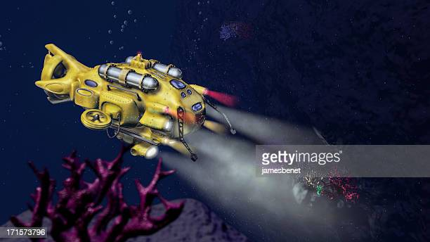 mar profundo submarino (3d) investigação - yellow submarine imagens e fotografias de stock