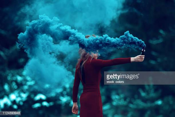 deep smoke from flaming torch - paranormal stock pictures, royalty-free photos & images