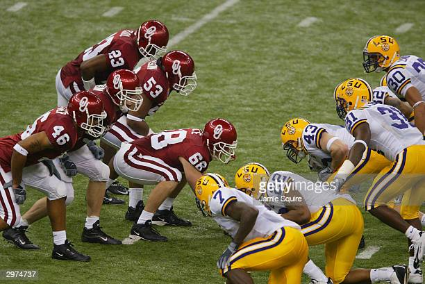 Deep snapper Jacob Rice of the University of Oklahoma Sooners prepares to start the play against the Louisiana State University Tigers during the...