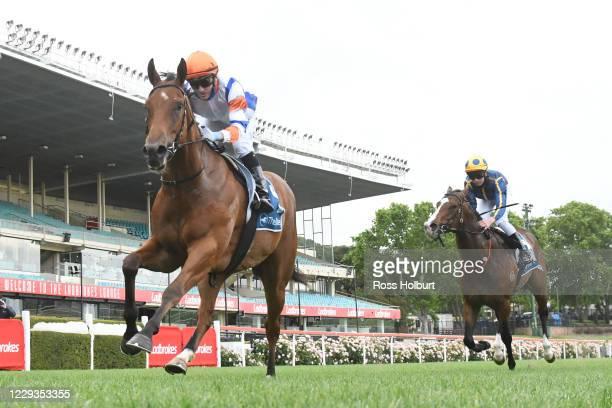 Deep Speed ridden by Luke Currie wins the In Memory - Vin Drechsler Handicap at Moonee Valley Racecourse on October 30, 2020 in Moonee Ponds,...
