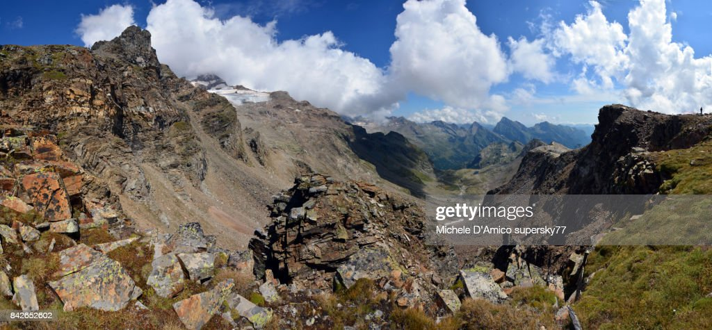 Deep Ushaped Valley Below The Monte Rosa Glaciers Stock