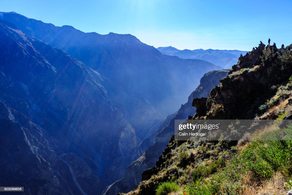 Deep valley in the Colca Canyon in Peru : Stock-Foto