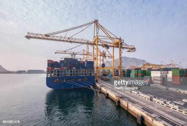 deep water port used for international maritime freight transportation. - harbour stock pictures, royalty-free photos & images