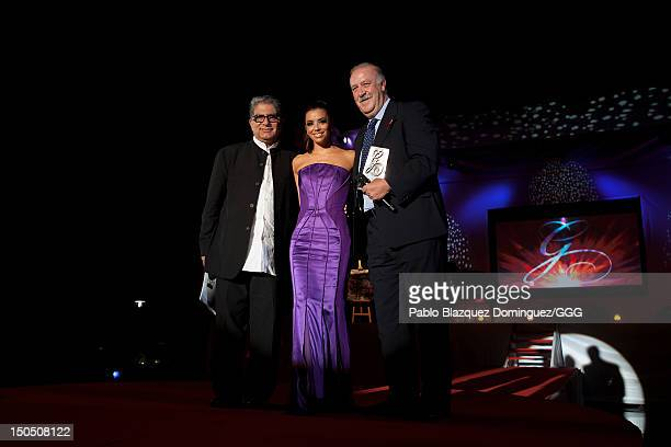 Deepack Chopra Eva Longoria and Vicenter del Bosque stand on stage during the Global Gift Gala held to raise benefits for Cesare Scariolo Foundation...