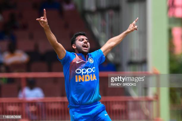 Deepak Chahar of India appeals for lbw against Evin Lewis of West Indies during the 3rd T20i match between West Indies and India at Guyana National...