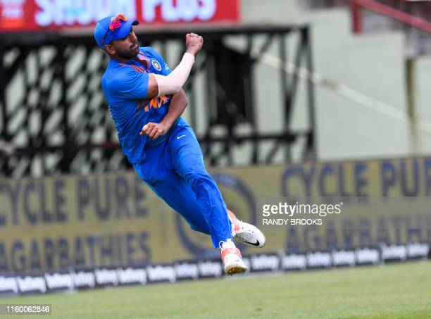 Deepak Chahar of India is seen fielding during the 3rd T20i match between West Indies and India at Guyana National Stadium in Providence Guyana on...