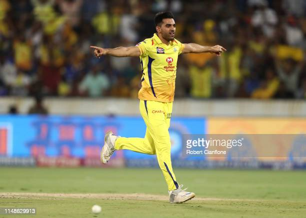 Deepak Chahar of the Chennai Super Kings celebrates taking the wicket of Rohit Sharma of the Mumbai Indians during the Indian Premier League Final...