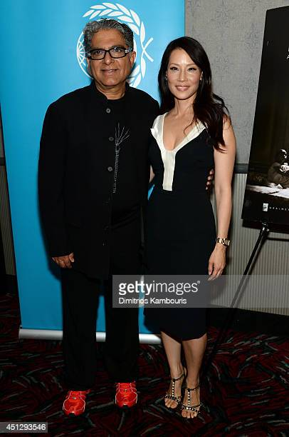 Deepak Chopra and UNICEF Ambassador and director Lucy Liu attend Deepak Chopra cohosts the premiere of 'Meena' directed by Lucy Liu and The Sibs on...