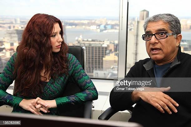 Deepak Chopra speaks beside 'PalTalk' host Diana Falzone during the Deepak Chopra press reception at Paltalk Studio on December 8 2011 in New York...