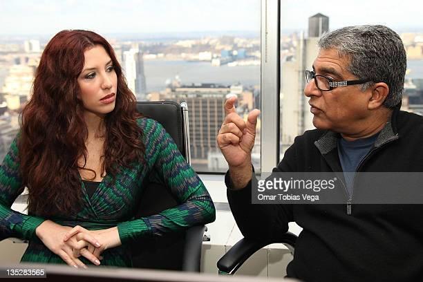 Deepak Chopra speaks to 'PalTalk' host Diana Falzone during the Deepak Chopra press reception at Paltalk Studio on December 8 2011 in New York City