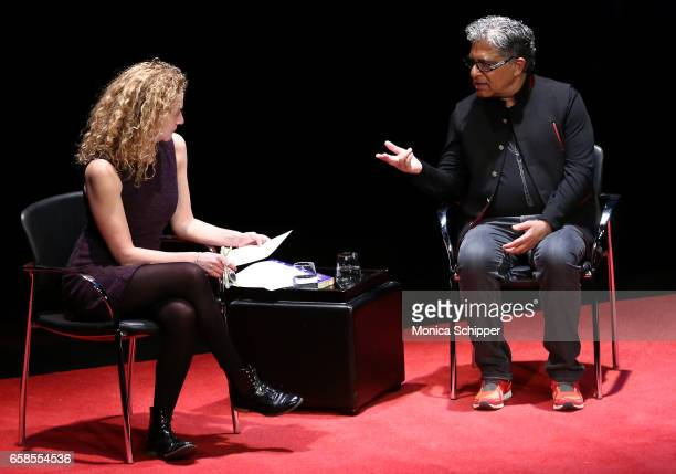 Deepak Chopra speaks with editor and columnist SundayStyles at The New York Times Katie Rosman during TimesTalks With Deepak Chopra at Florence Gould...