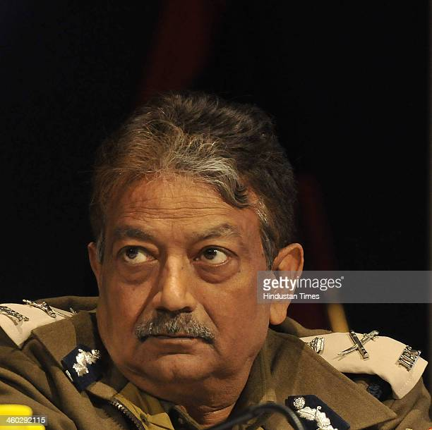 Deepak Mishra Special Commissioner of Police during the Annual Press Conference at India Habitat Centre on January 3 2014 in New Delhi India There...