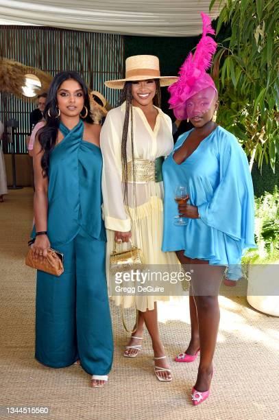 Deepica Mutyala, Kamie Crawford, and Achieng Agutu attend the Veuve Clicquot Polo Classic Los Angeles at Will Rogers State Historic Park on October...