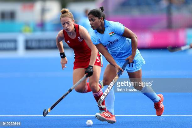 Deepika of India controls the ball during the Pool A Hockey match between Wales and India on day one of the Gold Coast 2018 Commonwealth Games at...
