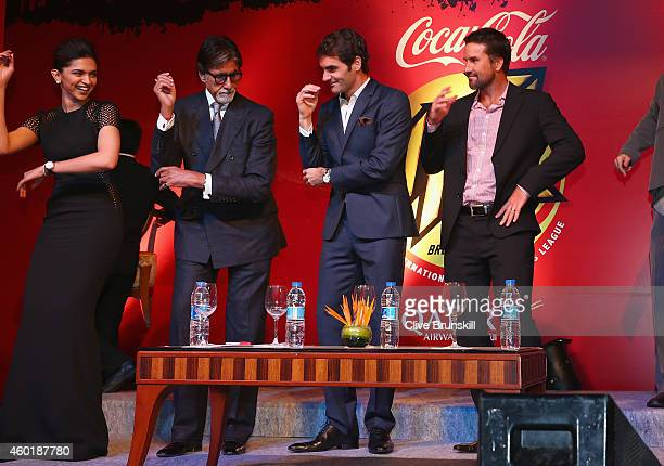 Deepika Padukone Amitabh Bachchan Roger Federer and Patrick Rafter at the CocaCola gala dinner during the CocaCola International Premier Tennis...