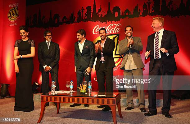 Deepika Padukone Amitabh Bachchan Roger Federer Patrick Rafter Pete Sampras and Boris Becker at the CocaCola gala dinner during the CocaCola...