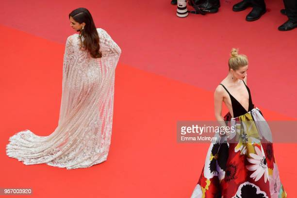 Deepika Padukone and Amber Heard attend the screening of Sorry Angel during the 71st annual Cannes Film Festival at Palais des Festivals on May 10...