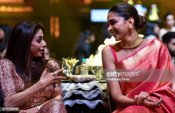 Deepika Padukone and Sridevi during Hindustan Times India's Most Stylish Awards at Yash Raj Films Private Limited on January 24 2018 in Mumbai India