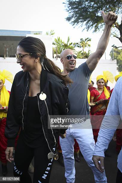MUMBAI INDIA JANUARY 12 Deepika Padukone and Vin Diesel arrive in Mumbai at Chhatrapati Shivaji Intl Airport for the Paramount Pictures Title xXx on...
