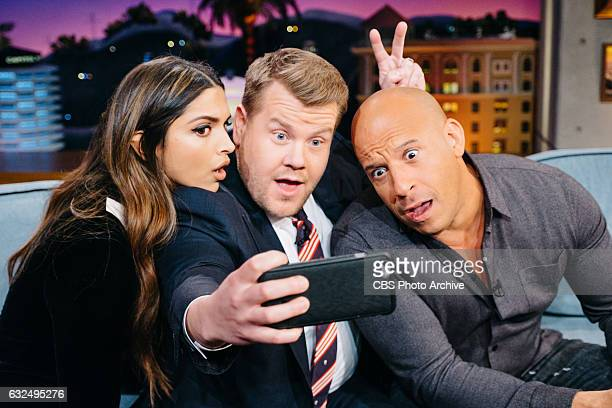 Deepika Padukone and Vin Diesel chat with James Corden during 'The Late Late Show with James Corden' Wednesday January 18 2017 On The CBS Television...