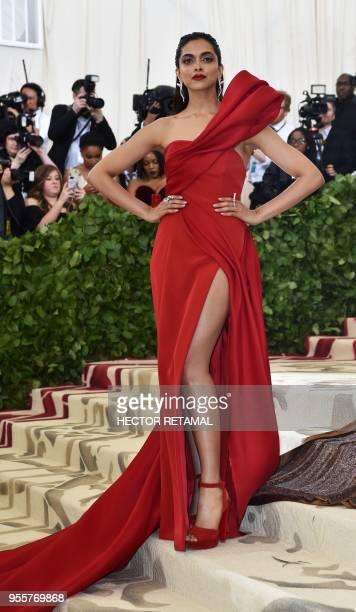 Deepika Padukone arrives for the 2018 Met Gala on May 7 at the Metropolitan Museum of Art in New York The Gala raises money for the Metropolitan...