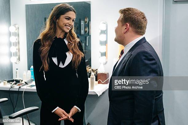 Deepika Padukone chats in the green room with James Corden during 'The Late Late Show with James Corden' Wednesday January 18 2017 On The CBS...