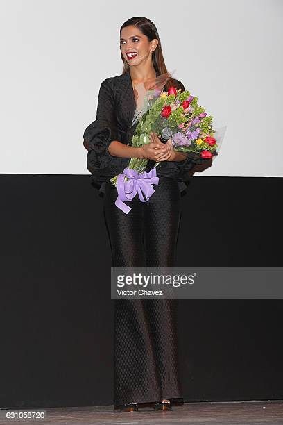 Deepika Padukone receives flowers for her birthday during the Mexico City Premiere of the Paramount Pictures xXx Return of Xander Cage at Auditorio...