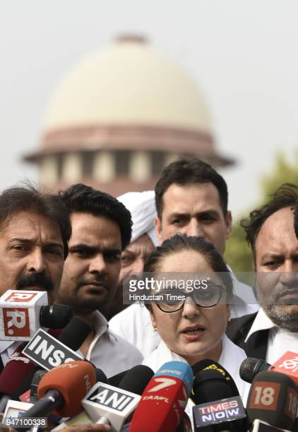 Deepika Singh Rajawat the lawyer appearing in the Jammu and Kashmir High Court on behalf of Kathua Rape victim's father comes out of the Supreme...