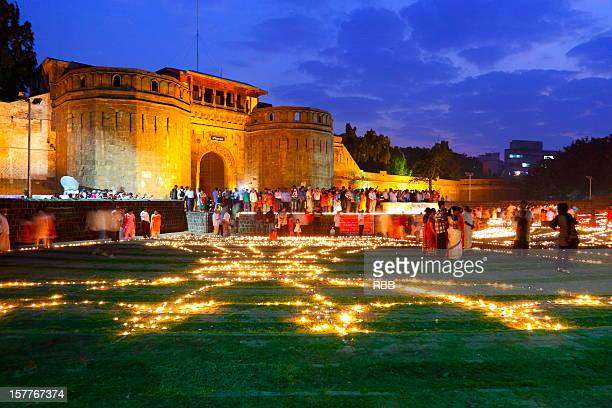 deepostav at shaniwarwada - diwali celebration stock photos and pictures