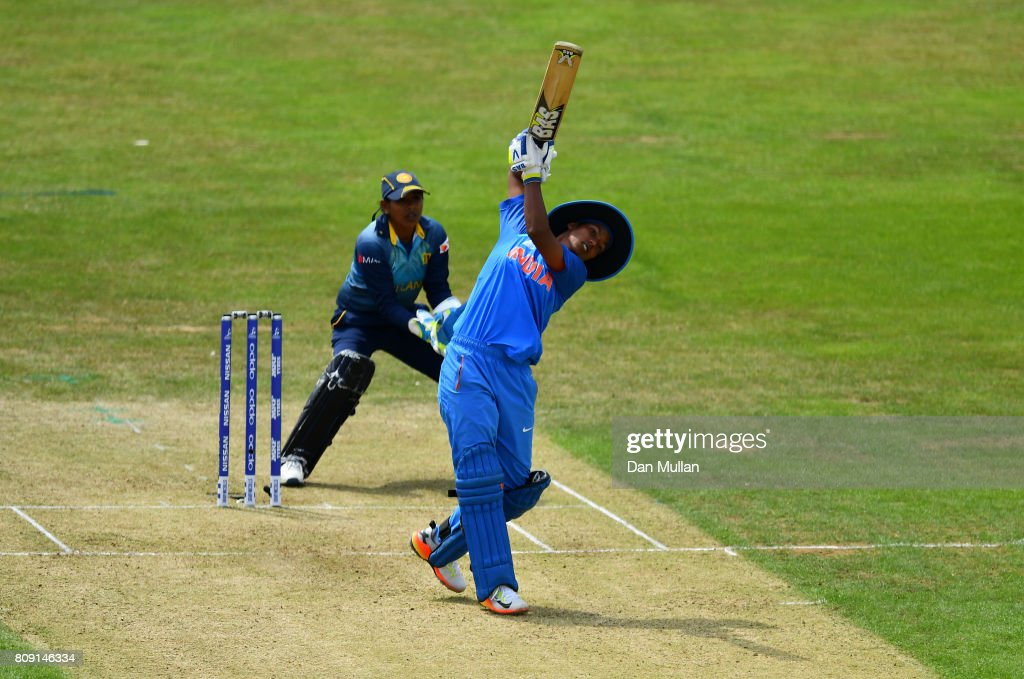 Deepti Sharma of India bats during the ICC Women's World Cup 2017 match between Sri Lanka and India at The 3aaa County Ground on July 5, 2017 in Derby, England.