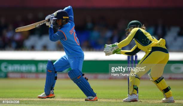 Deepti Sharma of India bats during the ICC Women's World Cup 2017 match between Australia and India at The 3aaa County Ground on July 20 2017 in...