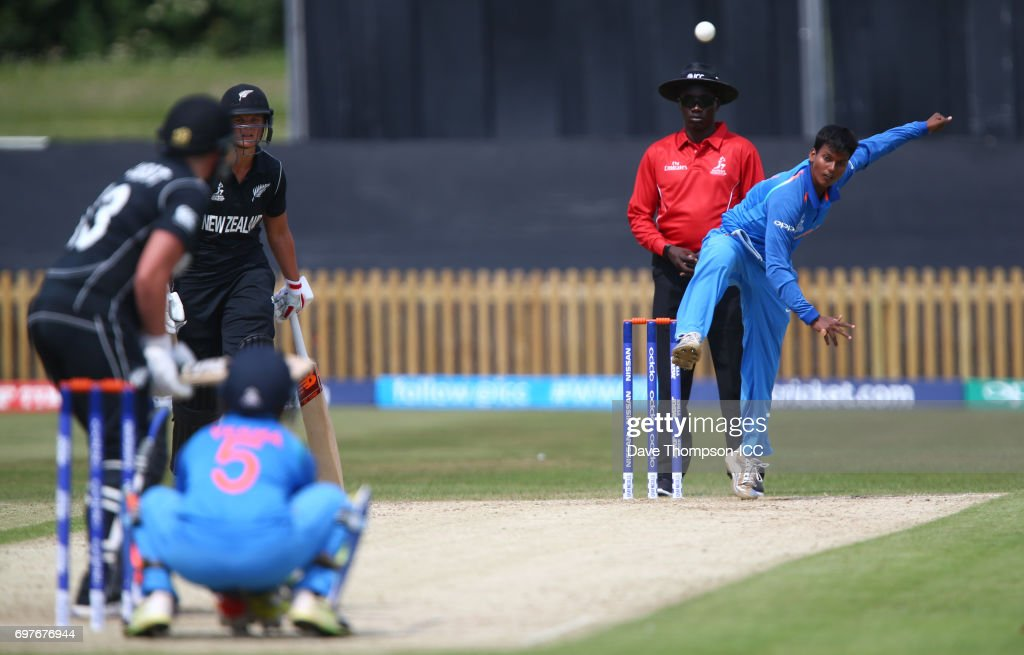 Deepti Sharma of India bowls to Suzie Bates of Nw Zealand during the ICC Women's World Cup warm up match between India and New Zealand at The County Ground on June 19, 2017 in Derby, England.